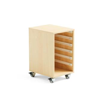 Wooden tray storage unit, 1 column, 350x450x635 mm, birch