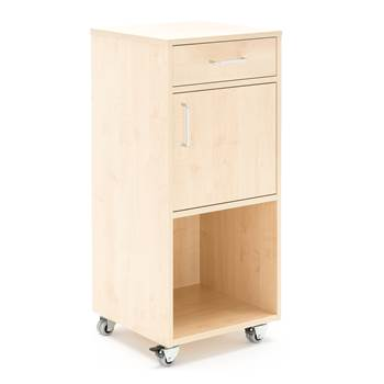 Mobile lectern with drawer and cupboard, 460x450x10450 mm, birch