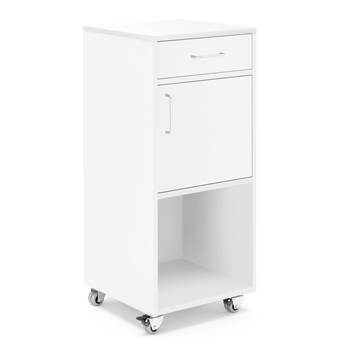 Mobile lectern with drawer and cupboard, 460x450x1045 mm, white