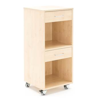 Mobile lectern with two drawers, 460x450x1045 mm, birch