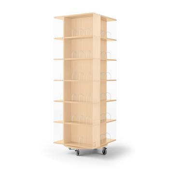 Astrid mobile book display rack, 560x560x1650 mm, beech