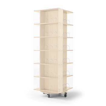 Astrid mobile book display rack, 560x560x1650 mm, birch