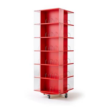 Astrid mobile book display rack, 560x560x1650 mm, red