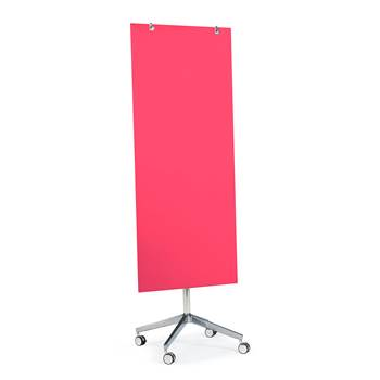 Mobile glass writing board, 650x1575 mm, dark pink