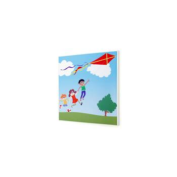 Noise absorbing panels, 600x600x60 mm, kite-flying mural