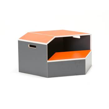 Hexagon staging unit, platform, orange