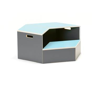 Hexagon staging unit, platform, turquoise
