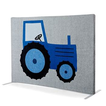 Noise absorbing floor screen, 1240x1000 mm, blue tractor and orange horse