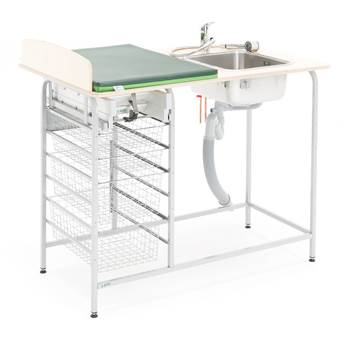 Baby changing table with storage, incl, R/H sink, 1200x800 mm