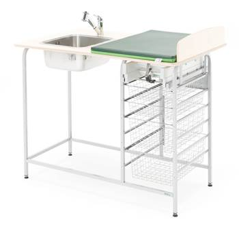 Baby changing table with storage, incl, L/H sink, 1200x800 mm
