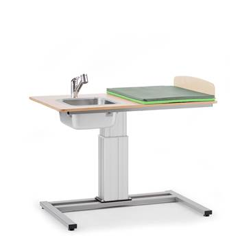 Elin Height-adjustable baby changing table, incl, L/H sink, 1200x800 mm