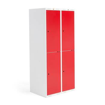 Roz student locker, 2 modules, 4 doors, 1740x800x550 mm, red