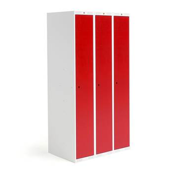 Roz student locker, 3 modules, 3 doors, 1740x900x550 mm, red