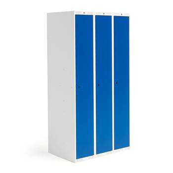 Roz student locker, 3 modules, 3 doors, 1740x900x550 mm, blue