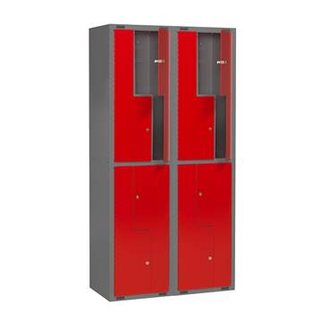 Mini Z-locker, 2 modules, 8 doors, 1980x1000x450 mm, red