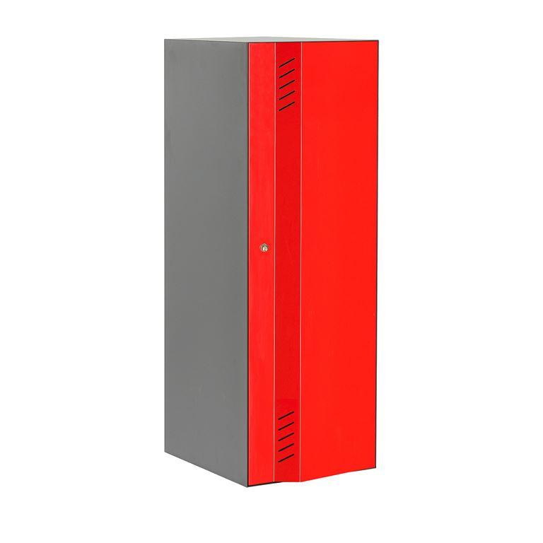 Szafa ubraniowa Create Energy, 1 sekcja, 1200x300 mm, szary korpus, czerwon
