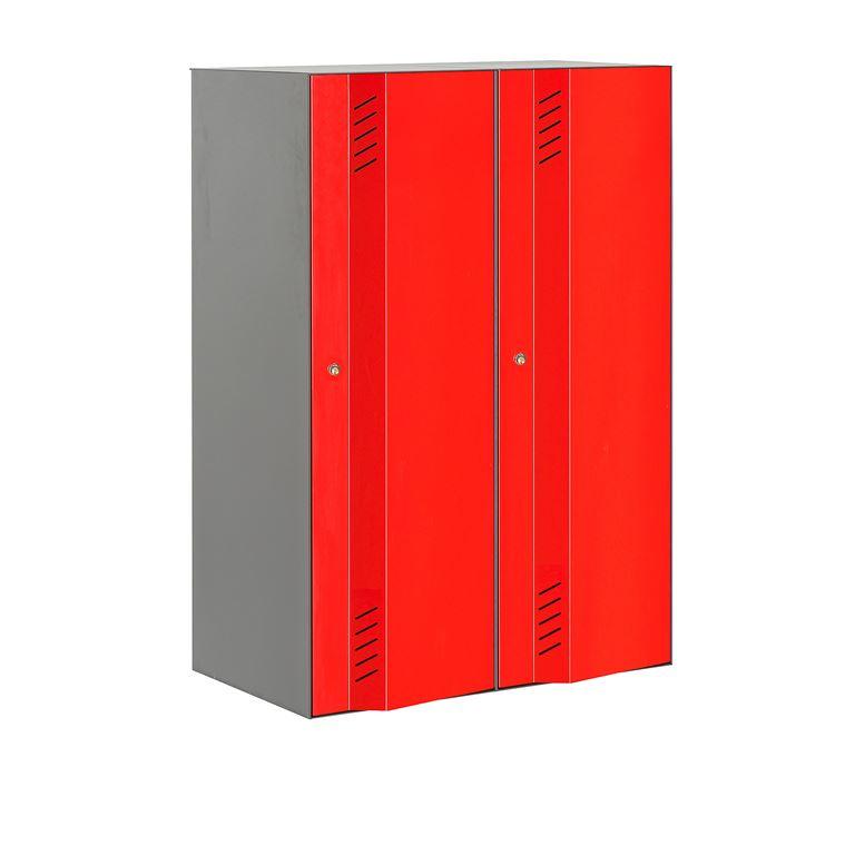 Szafa ubraniowa Create Energy, 2 sekcje, 1200x600 mm, szary korpus, czerwon