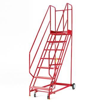 Steptek mobile steps, 7 treads, H 1750 mm, punched