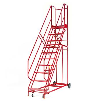 Steptek mobile steps, 10 treads, H 2500 mm, punched