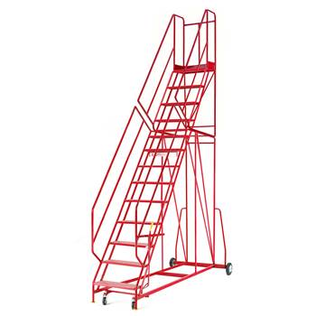 Steptek mobile steps, 13 treads, H 3250 mm, punched