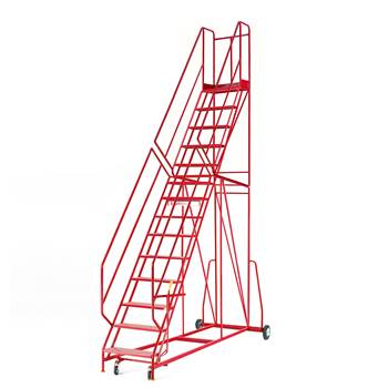 Steptek mobile steps, 14 treads, H 3500 mm, punched
