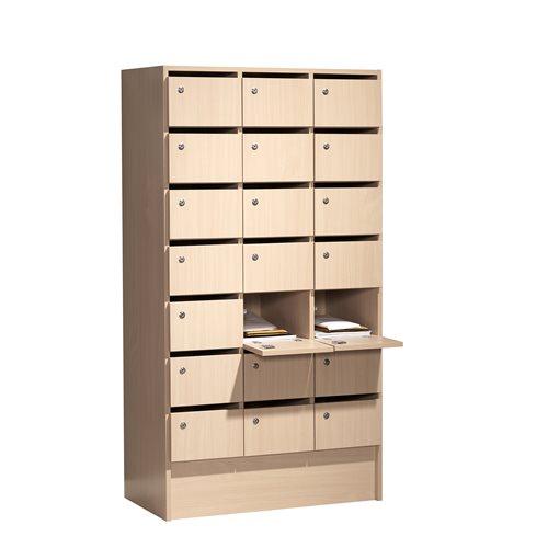 Postinlajittelukaappi / Säilytyskaappi, 21 lokeroa, koivulaminaatti