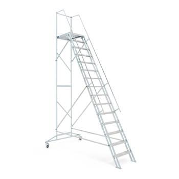 Mobil trappstege, 15 steg, höjd: 3000 mm