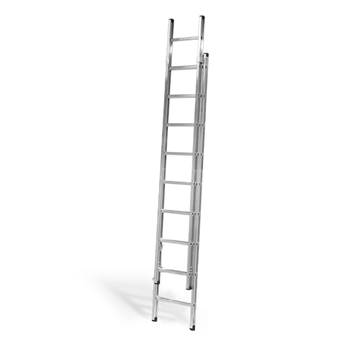 Extending ladder, 2x9 treads, H 2800-5000 mm