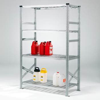 Galvanised shelving with sump tray