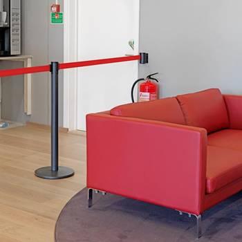 Indoor belt barriers