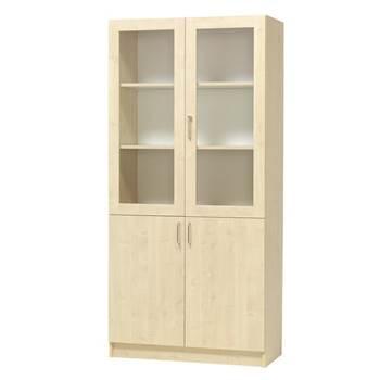 Equipment display cabinet, 2 x glass + 2 x solid doors