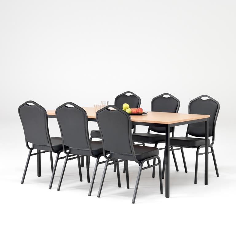 Zestaw do stołówki: 1 stół + 6 krzeseł
