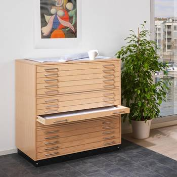 Complete drawing cabinet: 3 drawer units