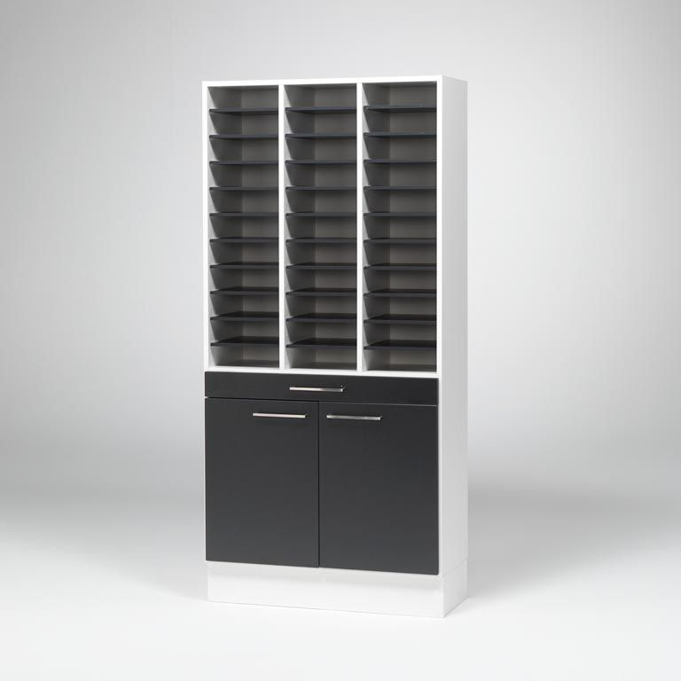 """Elegant"" mail sorting unit with cabinet"