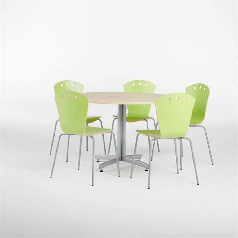 Pakkepris: Rundt kantinebord + 5 stoler