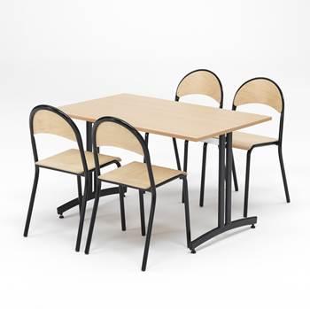 Spiseromsmøbler: 4 kantinestoler + 1 spisebord