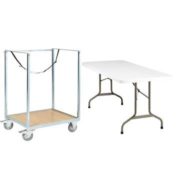 Wózek do stołów z 10 sskładanymi stołami