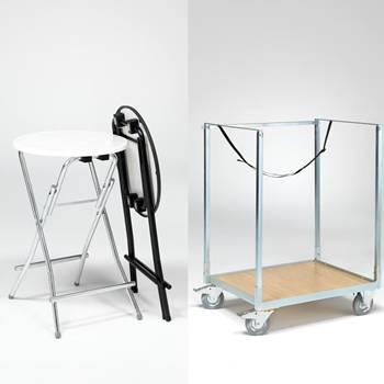 Zestaw składanych stołów wraz wózkiem do transportu