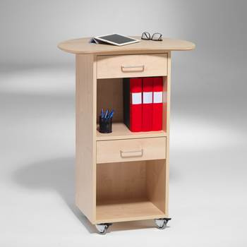 Mobile storage unit: 2 drawers + 2 compartments