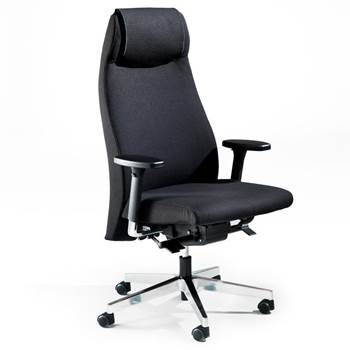 12 hr office chair: black fabric: leather
