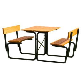 Picnic benches: black frame: backrests