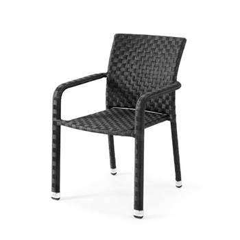 Krzesło ogrodowe z czarnego rattanu