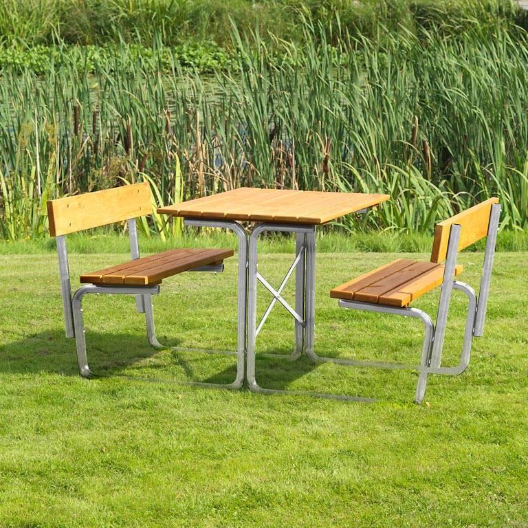 Picnic benches: steel frame: backrests