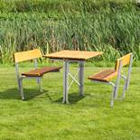 Picnic benches: steel frame: backrests