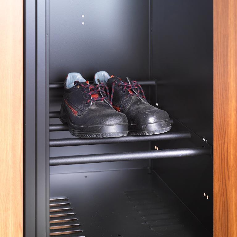 Shoe rack for lockers