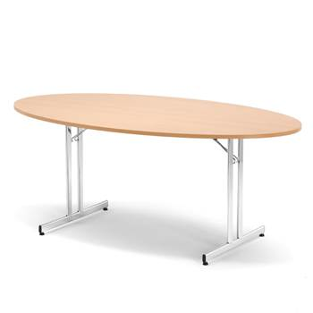 Elliptical collapsible canteen/conference table