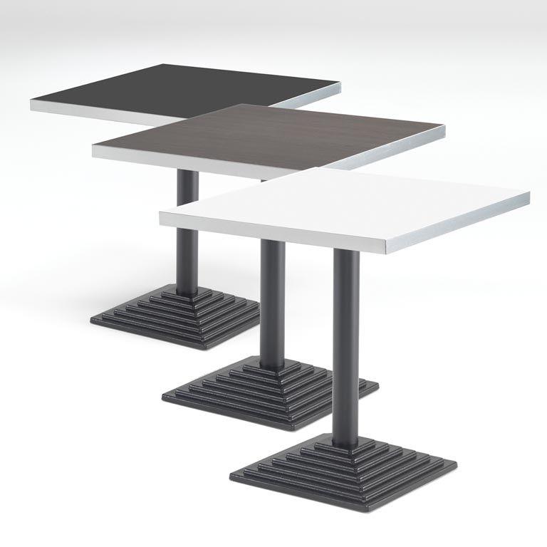 Kwadratowy stół kawiarniany z aluminiową krawędzią