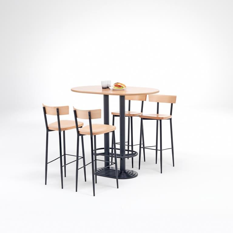"""Café"" bar package deal: 1 table + 4 chairs: black"