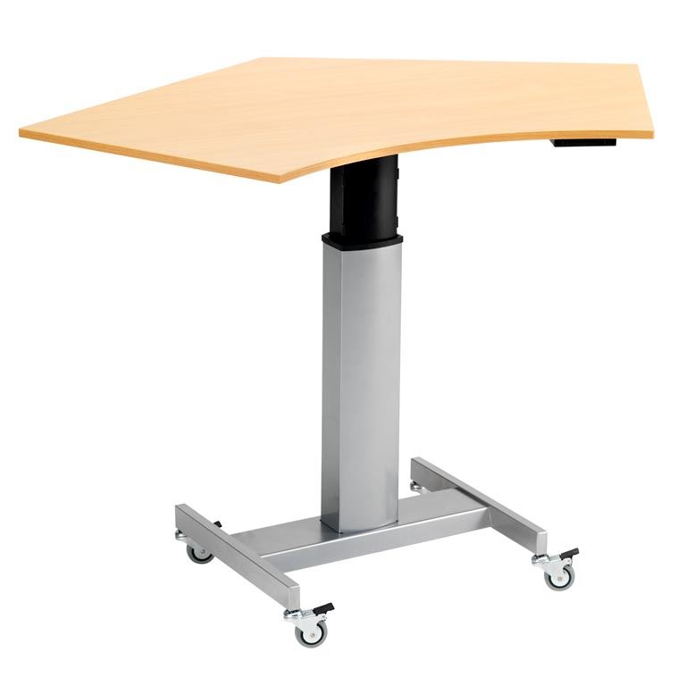 Mobile height adjustable computer desk