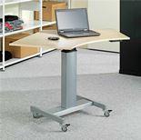 Mobile height adjustable computer desk